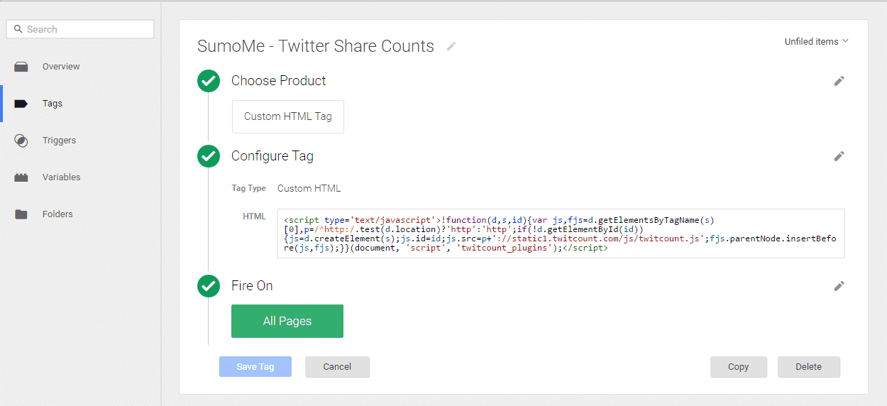 sumo me tweet count google tag manager