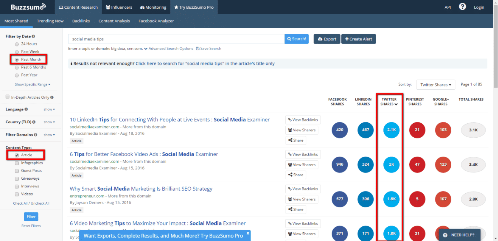 buzzsumo search results filtered