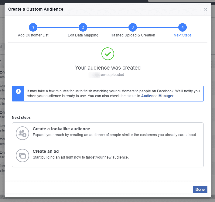 facebook custom audience data upload complete