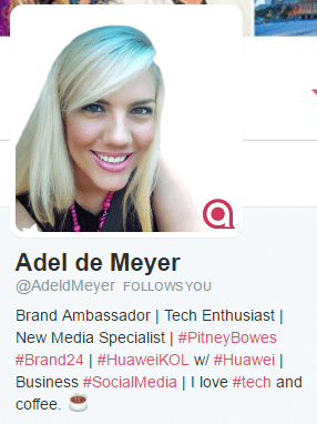 good twitter bio adel de meyer