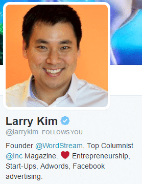 good twitter bio larry kim
