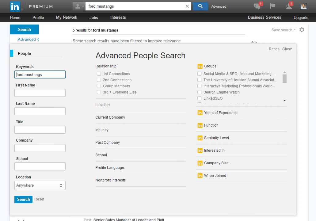 linkedin target audience advanced search