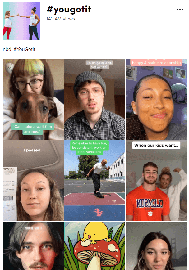 TikTok screenshit showcasing tiktok algo by focussing on the tag feature and the amount of views within that hastag